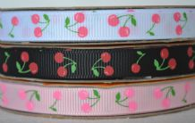 10mm PAIR OF CHERRY with LEAVES GROSGRAIN RIBBONS